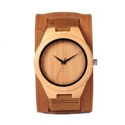 almond – leather strap bamboo wood watch