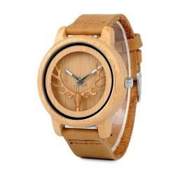 aspen – leather strap bamboo wood watch