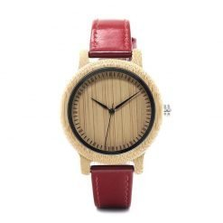 cherry – leather strap bamboo wood watch