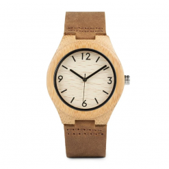 conker – leather strap bamboo wood watch