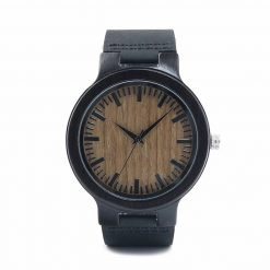 curry – black leather ebony wood watch