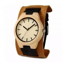 durian – leather strap maple wood watch