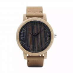 ebony – leather strap bamboo wood wooden watch