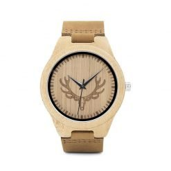 Hazel – Wooden Leather Strap Bamboo Wood Wrist Watch