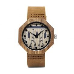 Juniper – Leather Strap Bamboo Wood Watch