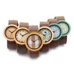 Tamarillo – Leather Bamboo Wood Watch